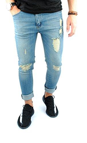 FiveSix Herren Slim-Fit Used-Look Denim Destroyed-Look Zerrissen Löcher Skinny Jeans Bikerjeans Hose mit Stretch Blau EU 29/32 (Waschen Fit Jeans Relaxed)