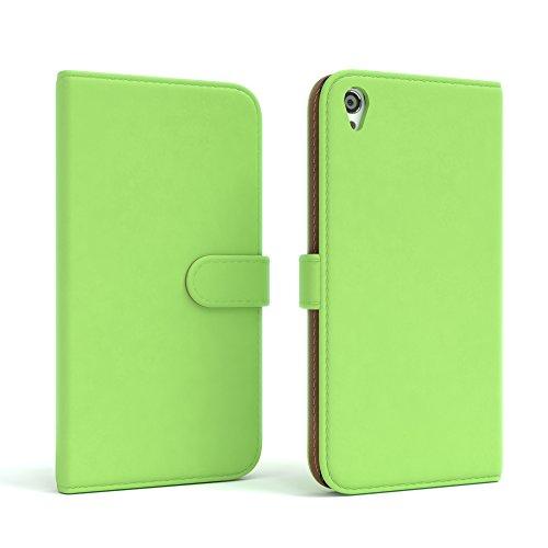 Sony Xperia Z2 Hülle - EAZY CASE Premium Flip Case Handyhülle - Schutzhülle aus Leder in Rot Grün (Book)