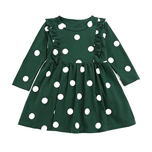 Chennie 1-6Y Mädchen Polka Dot Kleid Herbst Langarm Prinzessin Kleid Rüschen gespleißt Kleid (Color : Green, Size : 5Y-6Y)