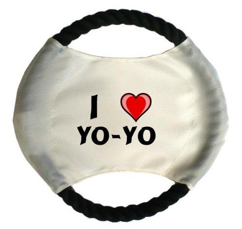 Personalisierter Hundefrisbee mit Aufschrift Ich liebe Yo-yo (Vorname/Zuname/Spitzname)