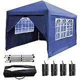 Bowose Pop-up-Pavillon 3x 3m mit 4Seiten 2Windows Stabile Stahl Rahmen mit Tragetasche und 4Sandsäcke Sicherer Bein Gewichte wasserfestem Zelt für Garten Outdoor Camping 2Personen (Blau)