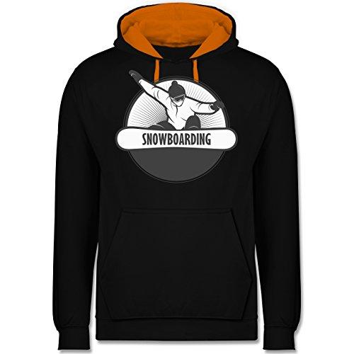 Wintersport - Snowboard Fun - Kontrast Hoodie Schwarz/Orange