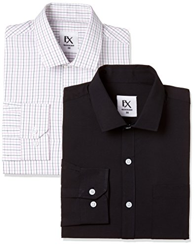 Excalibur by Unlimited Men's Solid Regular Fit Formal Shirt (Pack of 2) (275854881 ASSORTED 42)