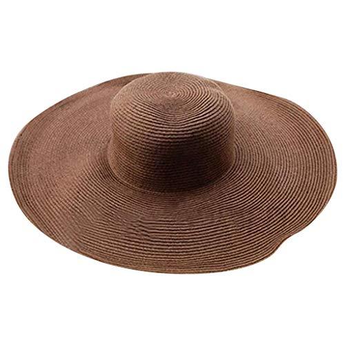 Produp Women Solid Color Big Brim Straw Hut Sun Floppy breit Brim Hüte Beach Cap würdevoll und großzügig Nizza und komfortable Hut