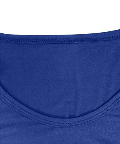 DEMO Frauen Langes Hülsen T Shirt Unregelmäßiger Rand Beiläufiges Sweatshirt T Shirt Bluse Tops Blau