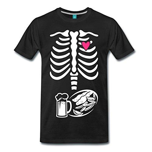 Schwangerschaft Skelett Papa Männer Premium T-Shirt von Spreadshirt®, L, (Halloween Vater Baby Kostüme)