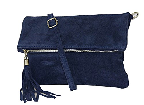 Clutch ,Borse a spalla (28 / 19 / 4 cm ) in pelle Mod. 2059 by Fashion-Formel WL-Blu