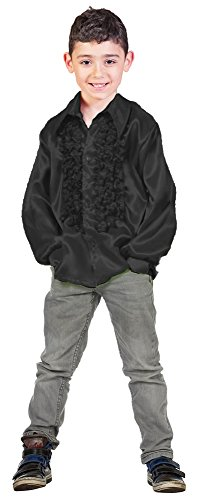 Satin Rüschenhemd Johnny für Kinder - Schwarz Gr. 152 (70er Jahre Kostüm Kind)