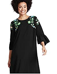 Highstreet Outlet Ladies Black Flower Embroidered Shoulder Loose Frill Sleeve Tunic Shift Dress 10-22