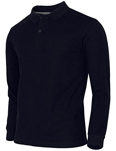 BCPOLO Baumwoll-Piqué Polo-Shirt Männer Langarm Poloshirt-navy XXL (Langarm-uniformhemd Blau)