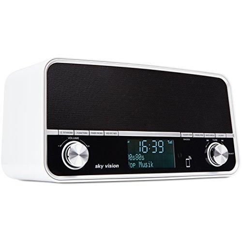 Sky Vision DAB Radio 51 W - Retro Digital Radio und Bluetooth Stereo Lautsprecher in Einem, USB Ladegerät, Wecker, DAB+, FM/UKW Tuner (Weiß) Sky Usb