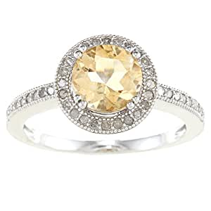 Sterling Silver Vintage Style Round Citrine and Diamond Ring (1/3 TDW)