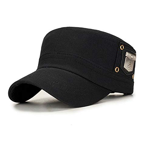 UAOOK Fashion Classic 100% Baumwolle Militär Flat Top Cadet Hysteresenhut Army Cap Einstellbare 6 Panel Baseball Hüte Outdoor Casual Plain Sonnenblende Hut Kopfbedeckung Golf Maler Segler Fiddler Chap Unisex Classic Chap