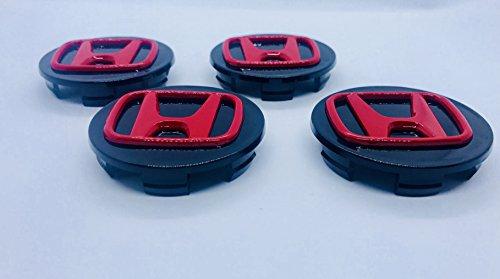 X4 Hohe Qualität Honda 70 mm Legierung Rad Badge Schwarz Rot Logo Emblem Mitte Hub Abdeckkappen Accord CR-V Civic Jazz Legend und weitere Modelle 0W17-SEA-6M00-B