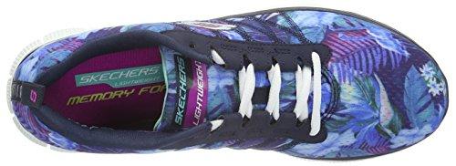 Skechers Flex AppealFloral Bloom, Low-Top Sneaker donna Blu (NVMT)