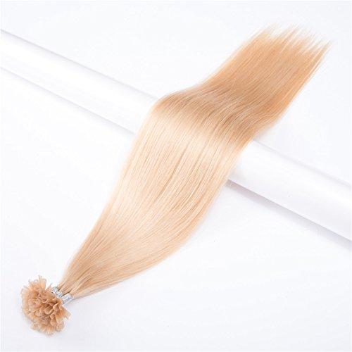 Extensions De Cheveux Droites U Tip Hair Cheveux Humains Brésiliens Vierges 0.5 g/Strand,100 Strands,Total 50g Nail Shape Extensions De Cheveux De Pointe Remy 20\