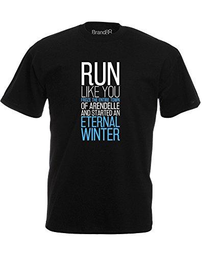 Brand88 - Eternal Winter, Mann Gedruckt T-Shirt Schwarz/Weiß/Sky Blue