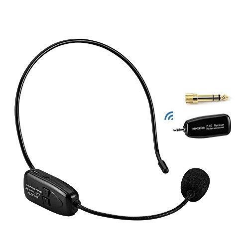 XIAOKOA 2.4G micrófono inalámbrico, transmisión inalámbrica estable 40m, auriculares y de mano 2 en 1, para el amplificador de voz, ordenador, altavoces (N-P80)