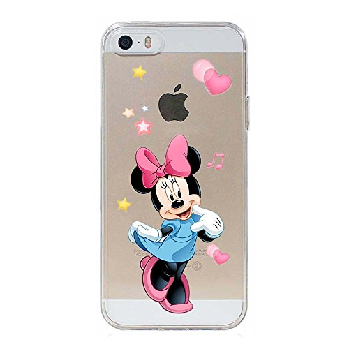 5 5S SE Couverture Coque Cover TPU GEL TRANSPARENT, doux, garde, protecteur, Disney Special Collection Spéciale, Frozen OLAF, iPhone 5 5S SE Minnie 069