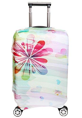 SINOKAL élastique Couvre bagages pour valises couverture de protection (Couverture seulement, ne comprend pas la valise) … (S(monter la valise de 18-20 pouces), Rainbow Flower)
