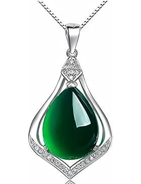 Damen-Halskette, Jade-Tropfen-Anhänger, Grün, Natur, Sterling-Silber 925, elegant