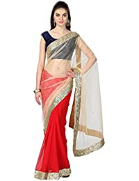 TRYme Fashion Women's Net Saree With Blouse Piece, Free Size (Red, New Collection Saree T20)