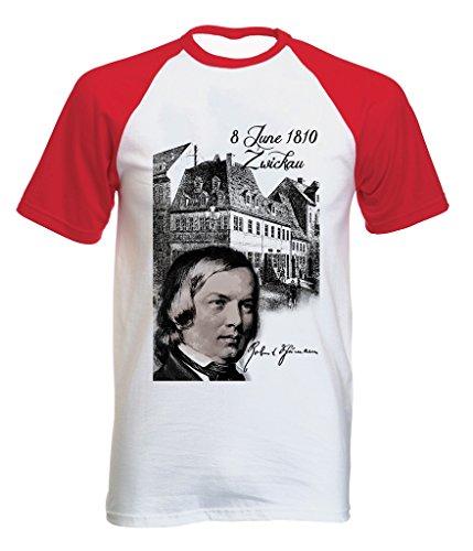 Teesquare1st Men's ROBERT SCHUMANN COMPOSER Red Short Sleeved T-shirt