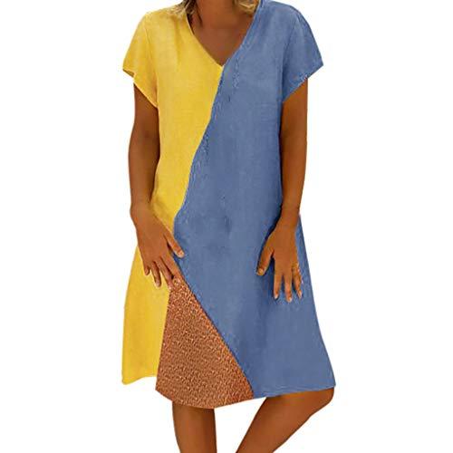 EUCoo Damen Leinen Kleid Sommer tropischen Stil Volltonfarbe V-Ausschnitt Tasche beiläufige lose Hemdkleid (Strap 8 Hollow)