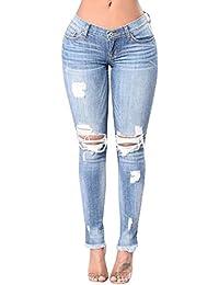 Femme Taille Haute Denim Pantalons Jeans Slim Leggings Collant Crayon Casual Déchiré Pants