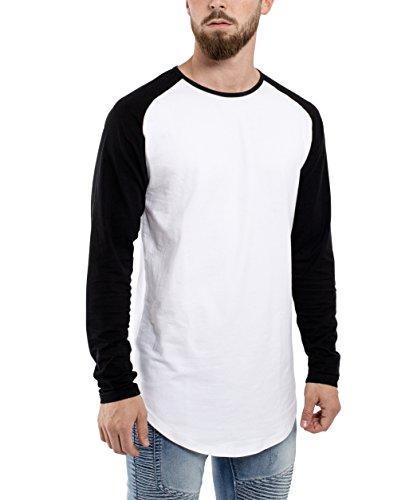Phoenix Oversize Baseball Longsleeve Long T-Shirt Herren Longshirt Grau Blau Rot Schwarz Grün - S M L XL Weiß-Schwarz