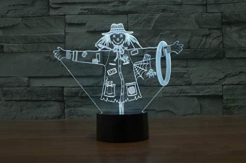 LLXPDZ 3D Nachtlicht Vogelscheuche Mädchen Hut Illusion Lampe Led 7 Farbwechsel Usb Touch Decor Beleuchtung Großes Geschenk Für Kinder (Kind Hut Vogelscheuche)