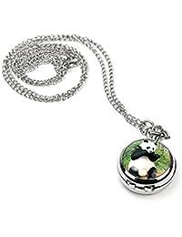 Women Girls Panda Locket Pendant Quartz Pocket Watch Necklace Chain Silver Tone