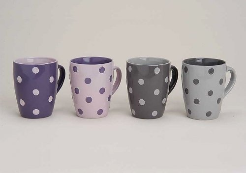 Tassen-Set in Lila & Grau mit Pünktchen Motiv | Große Teetassen & Kaffeetassen mit 300ml Volumen | 4-teiliges gepunktetes Keramik-Tassen Set | farbliche Becher für Heißgetränke mit großem Henkel (Lila Becher Tasse)