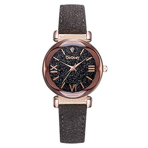 XZDCDJ Damenuhren Erwachsene Analog Quarz Uhr Fashion Armbanduhren Klassiche Uhren Mode einfache römische Ziffer Skala sternenklare Zifferblatt Quarz weibliche Uhr