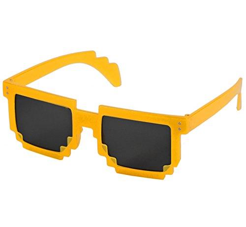 Nerd PIXEL Brillen Glow LEUCHTEN/Verschiedene Farben: Farbe: Orange Sonnenglas