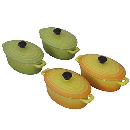 Mini Casserole Dish 125ml Oval Set of 4, 2 Colours Individual Oven Serving Dish
