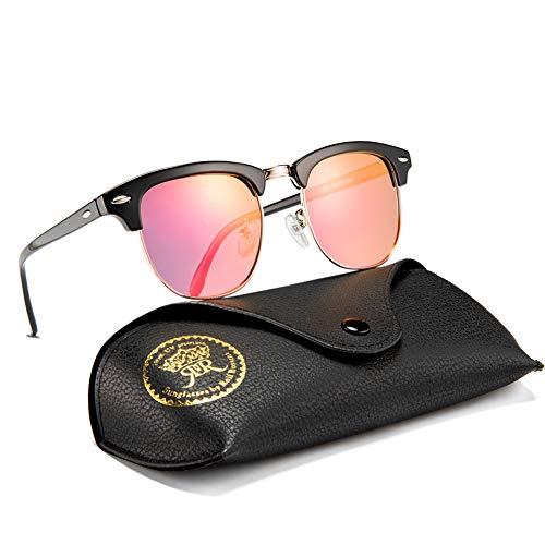 Rocf Rossini sonnenbrille polarisiert herren damen Retro Vintage klassisch Halber Rahmen Männer Frauen Anti Reflexion UV400 (Schwarz/Rosa)