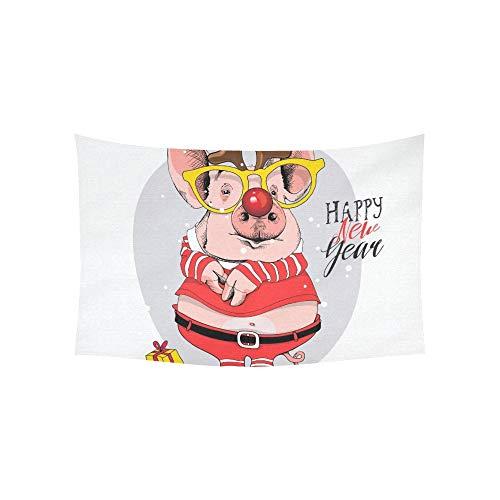 LMFshop Tapisserie Schwein Santas Red Kostüm Hirsch Maske Wandteppiche Wandbehang Blume Psychedelic Tapisserie Wandbehang Indian Dorm Decor Für Wohnzimmer Schlafzimmer 60 X 40 Zoll