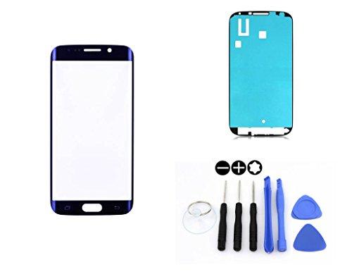 R.P.L. FRONTGLAS SET passend für SAMSUNG Galaxy S6 EDGE Blau Blue G925 / Frontglas / Glas / Displayglas / LCD Reparatur / LCD Display / Klebefolie / Glass Replacement / 8 - Teiliges Werkzeugset TOOLS