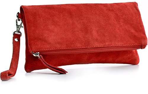 Leder Clutch von CNTMP SMALL MEDIUM LARGE Ledertasche Partytasche Handtasche Leder Clutch Damen Handtasche Unterarmtasche Abendtasche Veloursleder Wildleder Rot