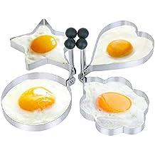 Spiegeleiform (4er Set) aus Edelstahl für Bratpfanne dekorative Frühstücksidee Eierring antihaftbeschichtet mit schwenkbarem Griff für Spiegelei, Omelette, Pfannkuchen in Herz, Stern, Blume und Kreis von wortek