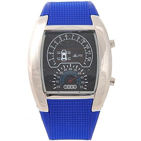LEORX Cool Car Dashboard Design Quadrante impermeabile unisex luce blu LED Sport orologio da polso - Quadrante Blu Unisex
