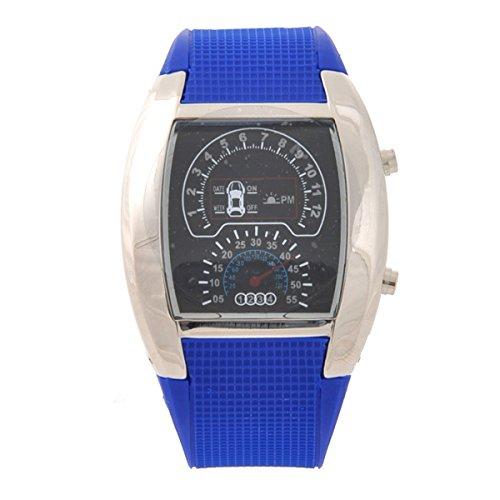 LEORX Reloj LED deportivo - coche Dashboard diseño resistente al agua reloj (azul)