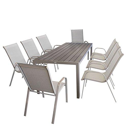 9tlg Sitzgruppe Gartentisch, Aluminiumrahmen, Polywood Tischplatte champagner, 205x90cm + 8x Stapelstuhl, Textilenbespannung champagner / Gartengarnitur Gartenmöbel Set Sitzgarnitur