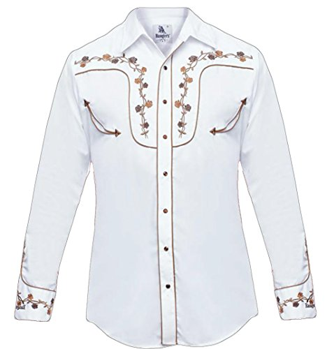 Roper Western Shirt (Modestone Men's Embroidered Long Sleeved Fitted Western Hemd Floral White S)