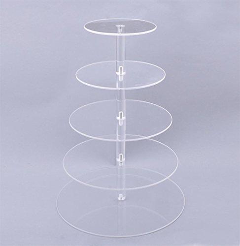 Algern New Round Crystal Clear Acrylic Cupcake Stand Wedding Display Cake Tower 5 Tier Ablauftrays für Lebensmittelschalen
