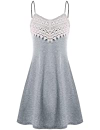 Vestido Para Mujer, BBestseller moda mujeres musica nota Imprimir alta baja Lace insert Tank Top