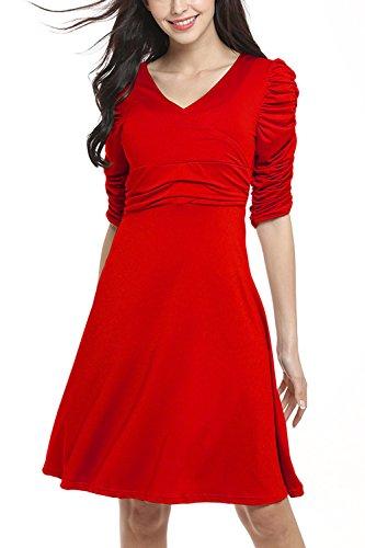 Sundress, WIWIQS Damenbekleidung zur Arbeit gefaltetes Bodycon Kleid, rot (Ebay Kostüme Alte Halloween)