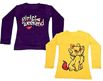 IndiWeaves Girls Cotton Full Sleeves Printed T-Shirt (Pack of 2)_Yellow::Purple_Size: 14-15 Year