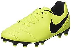 Nike Kids JR Tiempo Rio III Fg Volt/Black Volt Soccer Cleat 5. 5 Women US